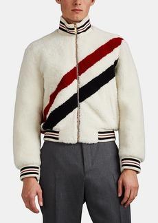 Thom Browne Men's Striped Shearling Bomber Jacket