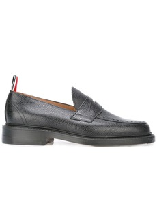 Thom Browne Penny Loafer With Leather Sole In Black Pebble Grain