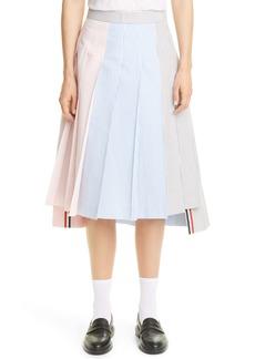 Thom Browne Pleated Asymmetrical Seersucker Skirt