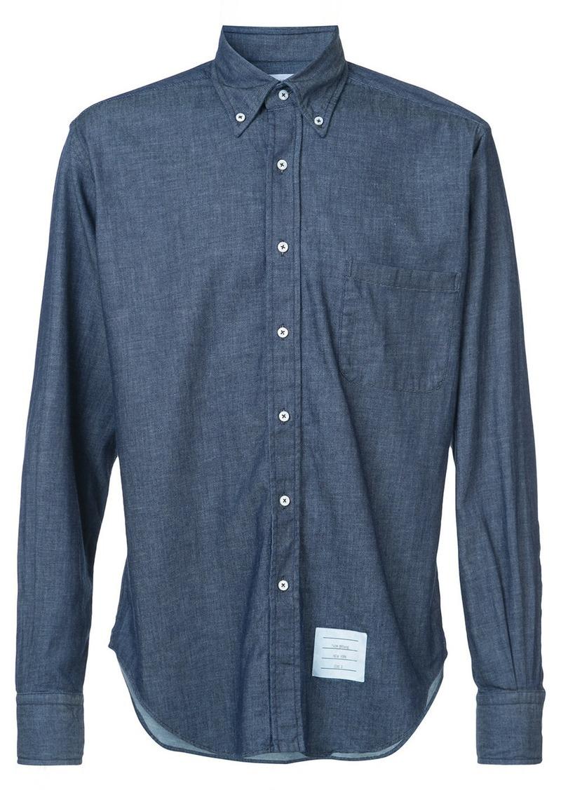 b03a68c84c26 Thom Browne Regular Fit Long Sleeve Shirt In Shirting Denim
