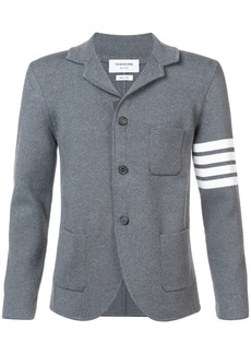 Thom Browne Rib Knit Sport Coat With White 4 Bar Stripe In Medium Grey Fine Merino Wool