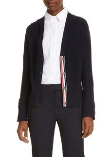 Thom Browne Ribbon Trim Cable Knit Merino Wool Cardigan