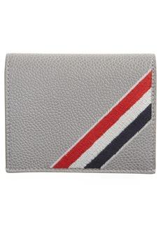 Thom Browne RWB Embroidered Leather Bifold Card Holder
