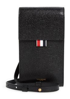Thom Browne Rwb Leather Crossbody Phone Holder - Black