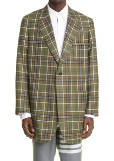 Thom Browne Sack Plaid Oversize Wool Sport Coat