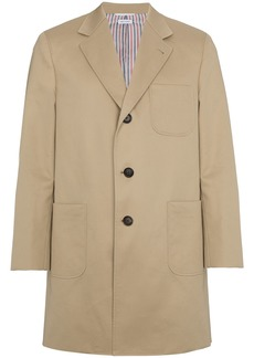 Thom Browne Silk Single Breasted Two Button Overcoat - Nude & Neutrals