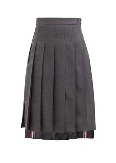 Thom Browne Step-hem pleated wool skirt