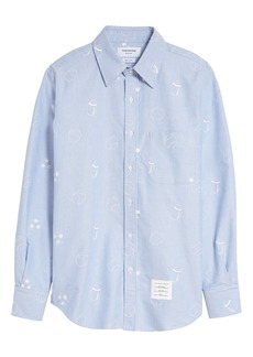 Thom Browne Straight Fit Button-Up Shirt