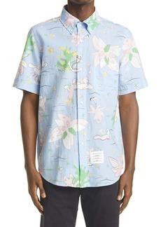 Thom Browne Straight Fit Print Button-Down Shirt
