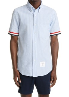 Thom Browne Straight Fit Short Sleeve Button-Down Seersucker Shirt