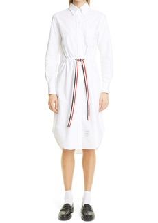 Thom Browne Stripe Belt Long Sleeve Oxford Shirtdress