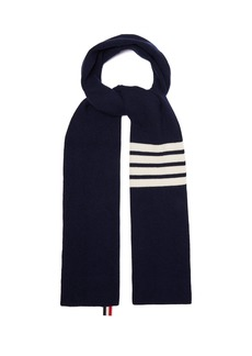 Thom Browne Stripe-detail ribbed-knit cashmere scarf