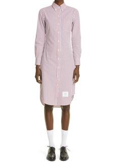Thom Browne Stripe Long Sleeve Seersucker Shirtdress