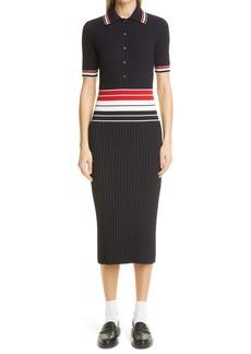 Thom Browne Stripe Rib Cotton Blend Polo Dress