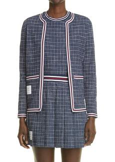 Thom Browne Stripe Stretch Cotton Tweed Cardigan