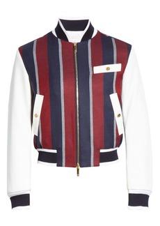 Thom Browne Stripe Wool & Deerskin Leather Bomber Jacket (Nordstrom Exclusive)