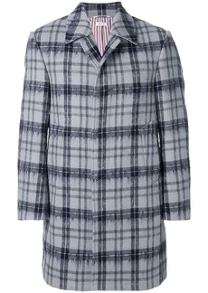 Thom Browne Tartan Classic Bal Collar Hairy Mohair Overcoat