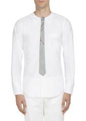 Thom Browne Tie-Detail Silk Crewneck Shirt