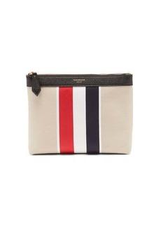 Thom Browne Tricolour-stripe cotton-canvas wash bag