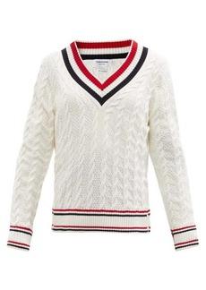 Thom Browne Tricolour-stripe V-neck cable-knit cotton sweater