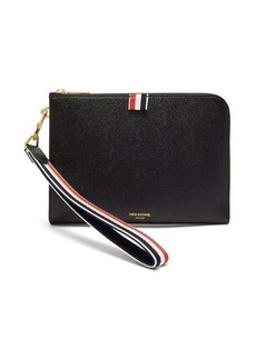 Thom Browne Tricolour-wristlet grained-leather folio pouch