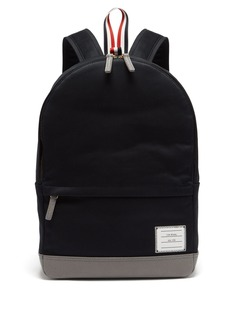Thom Browne Twill and pebbled-leather backpack
