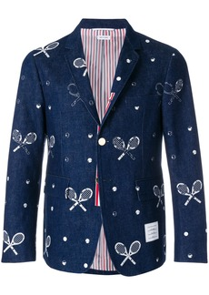 Thom Browne Unconstructed Classic Single Breasted Sport Coat With Grosgrain Placket In Washed Denim With Distressed Tennis Half Drop Embroidery