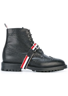 Thom Browne Wingtip Boot In Black Pebble Grain