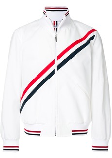 Thom Browne Zip Front Track Jacket With Seamed In Diagonal Stripe In