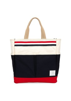 Thom Browne Tricolor Stripe Garden Leather-Trim Tote Bag