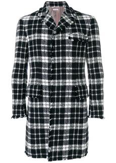 Tweed Thom Browne Tartan Check High-Armhole Chesterfield Overcoat