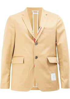 Thom Browne Unconstructed Classic Single Breasted Sport Coat With Grosgrain Placket In Light Weight High Density Cotton Twill