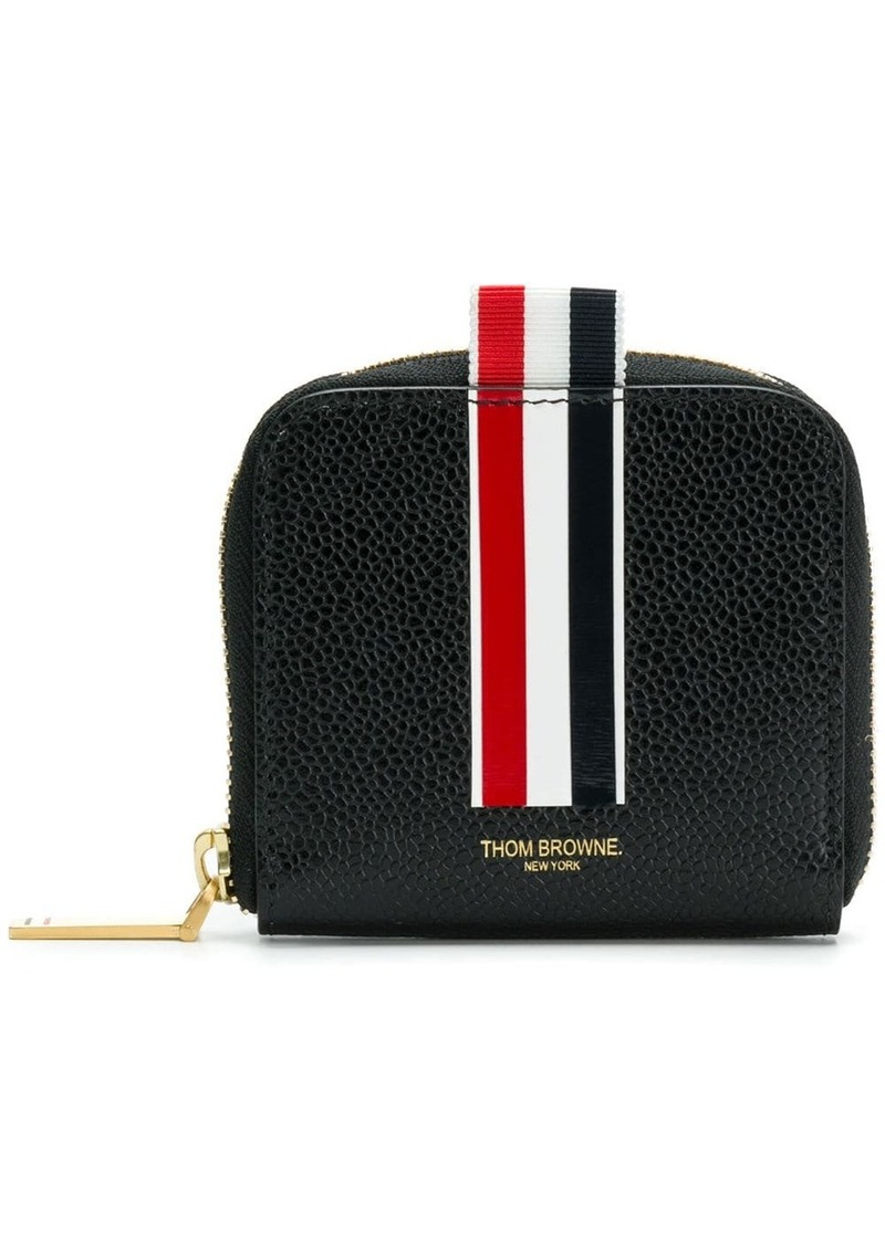 Thom Browne Vertical Inatarsia Stripe Zip-around Cardholder In Pebble Grain Leather