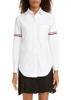 Women's Thom Browne Grosgrain Band Cotton Poplin Shirt