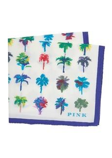 Thomas Pink Palm Print Pocket Square