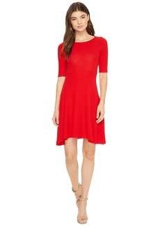 Three Dots Brushed Sweater Fit & Flare Dress