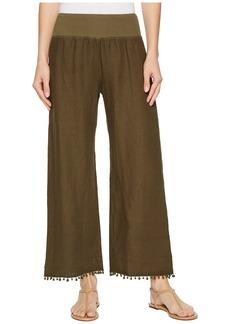 Three Dots Cropped Pants w/ Pom Pom Trim