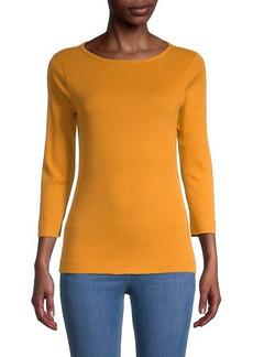 Three Dots Cropped-Sleeve Knit T-Shirt