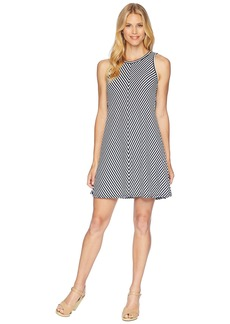 Three Dots Desert Stripe A-Line Tank Dress w/ Tie-Back