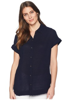 Three Dots Double Gauze Button Up Tunic