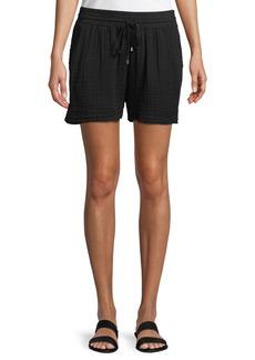 Three Dots Drawstring-Waist Cotton Gauze Shorts