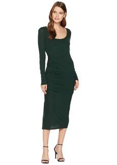 Three Dots Eco Knit Long Sleeve Shirred Dress