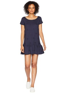 Three Dots Eyelet Jersey Dress