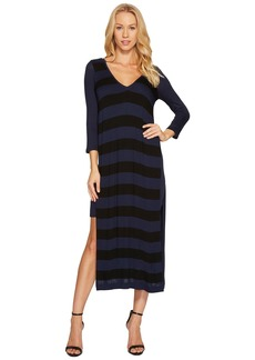 Three Dots Featherweight Stripe Double V-Neck Dress