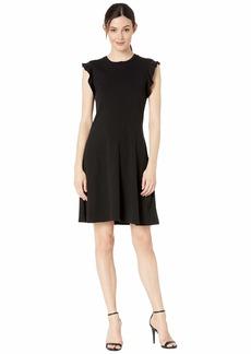 Three Dots Heritage Knit Ruffle Sleeve Dress