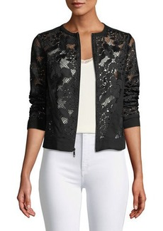 Three Dots Lace Zip-Front Jacket