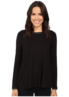 Three Dots Leather Trim A-Line Tee