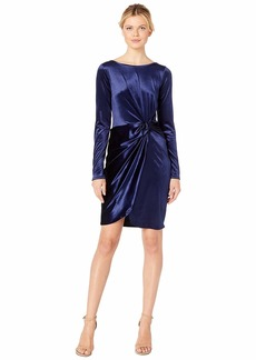Three Dots Long Sleeve Stretch Panne Velvet Dress with Twist