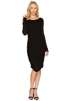Three Dots Luxe Slub Shirred Dress
