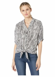 Three Dots Mini Zebra Printed Crepe Tie Front Top
